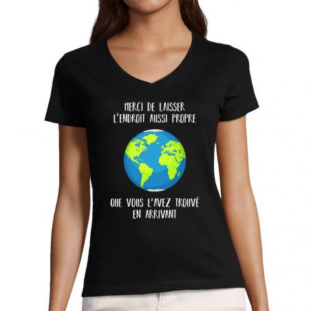 """T-shirt femme col V """"Merci..."""