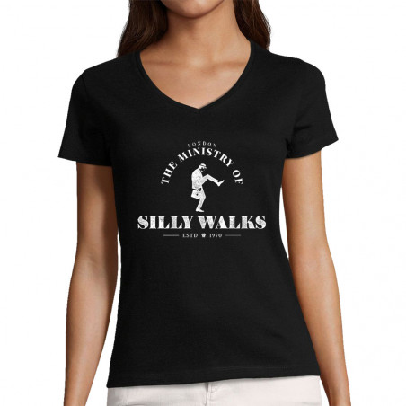 "T-shirt femme col V ""Silly..."