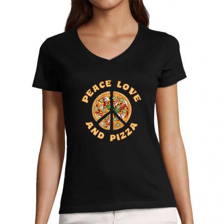 """T-shirt femme col V """"Peace..."""