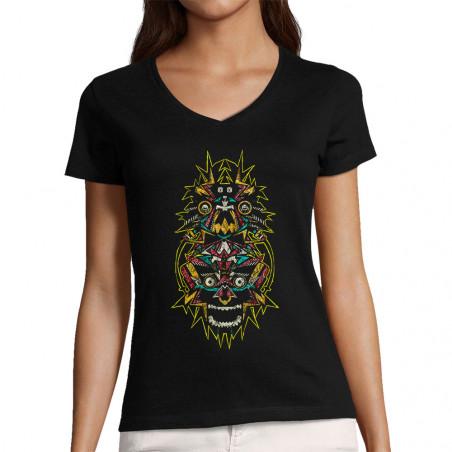 "T-shirt femme col V ""Heads"""