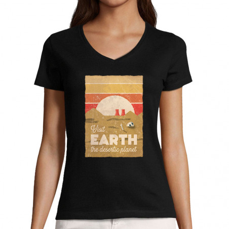 """T-shirt femme col V """"Visit..."""