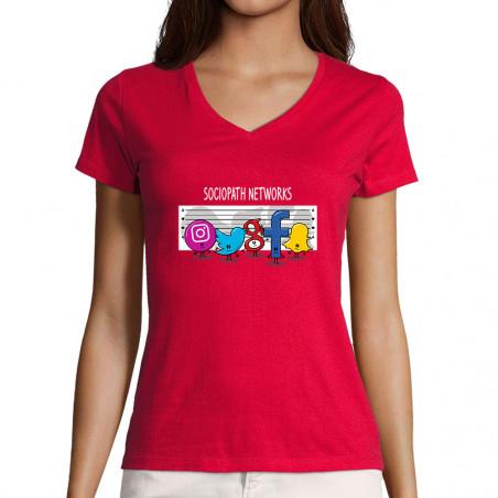 T-shirt femme col V...