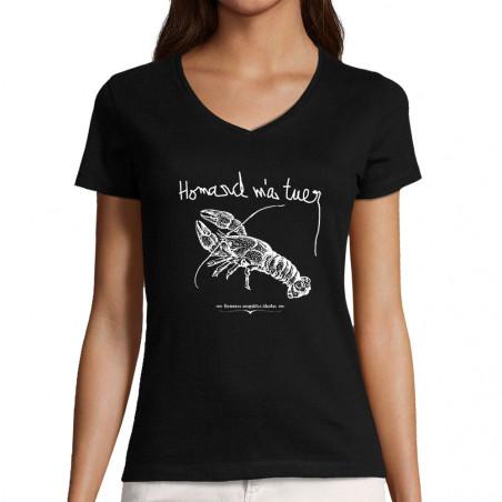 """T-shirt femme col V """"Homard..."""