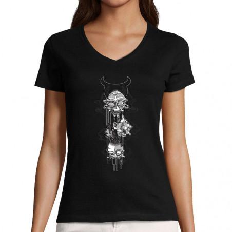 """T-shirt femme col V """"Totem"""""""