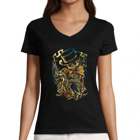 """T-shirt femme col V """"Santa..."""