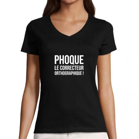 """T-shirt femme col V """"Phoque..."""