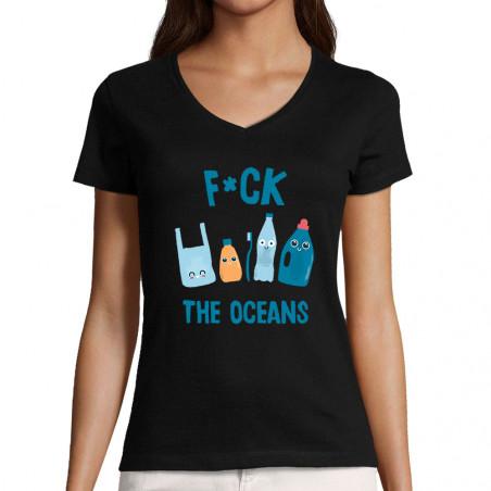 "T-shirt femme col V ""Fuck..."