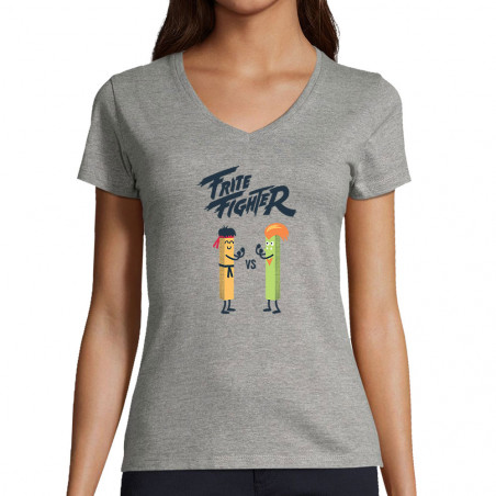 "T-shirt femme col V ""Frite..."