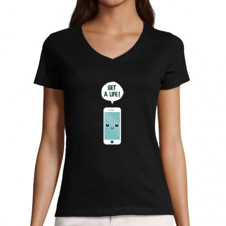 """T-shirt femme col V """"Get a..."""