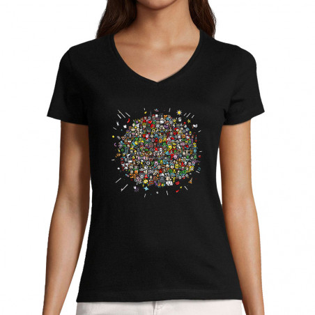 "T-shirt femme col V ""Planet..."