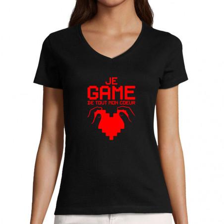 """T-shirt femme col V """"Je..."""