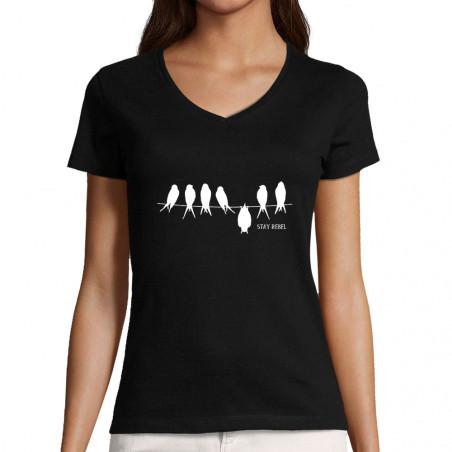 "T-shirt femme col V ""Stay..."