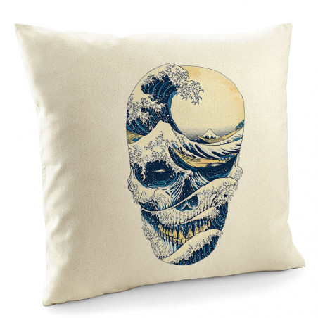 "Coussin ""Hokusai Wave Skull"""