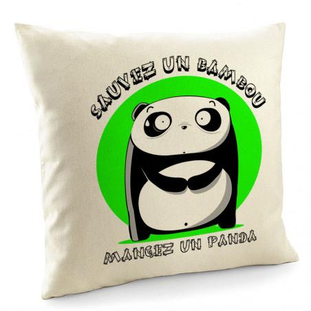 "Coussin ""Sauvez un bambou"""