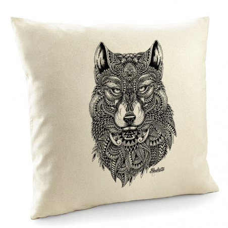 "Coussin ""Bad River - The Wolf"""