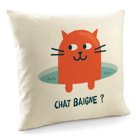 "Coussin ""Chat baigne ?"""