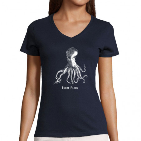 "T-shirt femme col V ""Poulpe..."