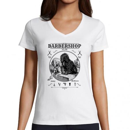 """T-shirt femme col V """"Barber..."""