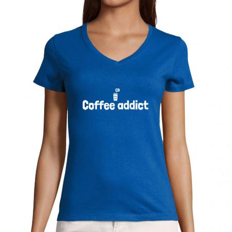 """T-shirt femme col V """"Coffee..."""
