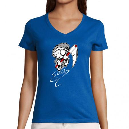 "T-shirt femme col V ""Puppet..."