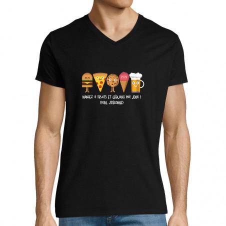"""T-shirt homme col V """"Mangez..."""