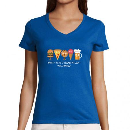 """T-shirt femme col V """"Mangez..."""
