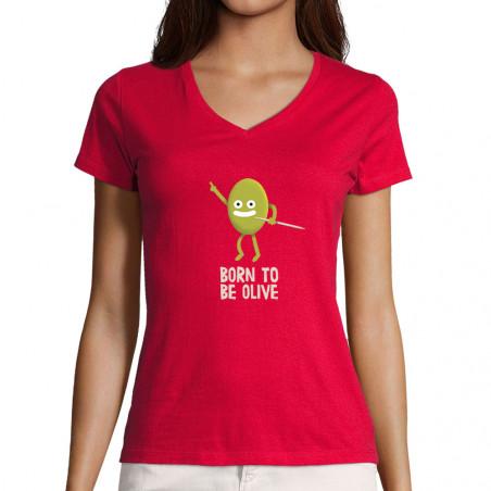 "T-shirt femme col V ""Born..."