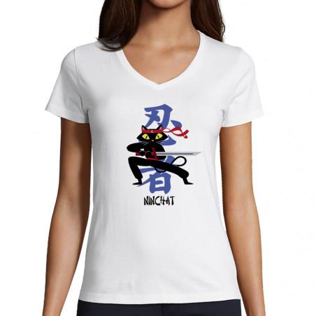 """T-shirt femme col V """"Ninchat"""""""