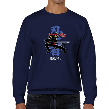 "Sweat homme col rond ""Ninchat"""