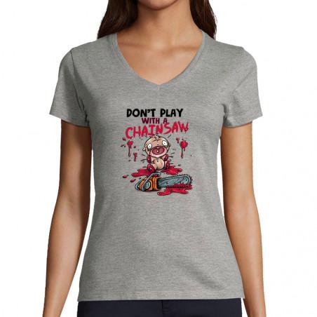 """T-shirt femme col V """"Don't..."""