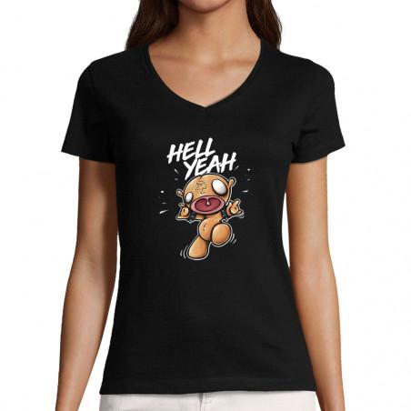 "T-shirt femme col V ""Hell..."