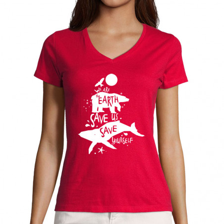 "T-shirt femme col V ""We are..."