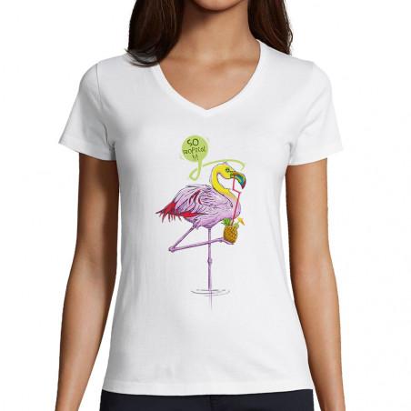 """T-shirt femme col V """"Flam..."""