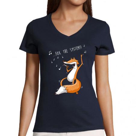 """T-shirt femme col V """"Fox..."""