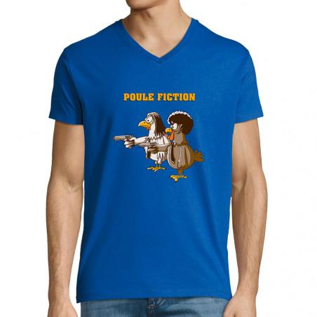 """T-shirt homme col V """"Poule..."""