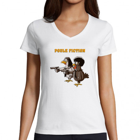 "T-shirt femme col V ""Poule..."