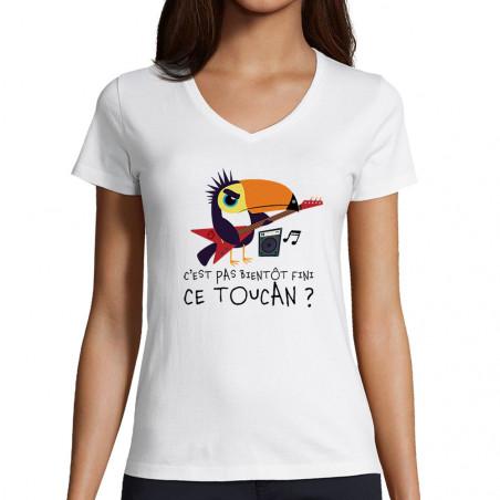 "T-shirt femme col V ""Fini..."