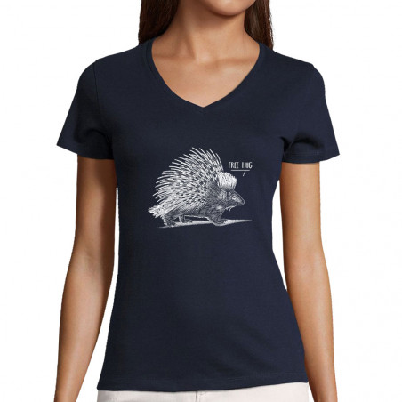 """T-shirt femme col V """"Free Hug"""""""