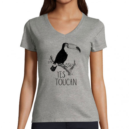 "T-shirt femme col V ""Yes..."
