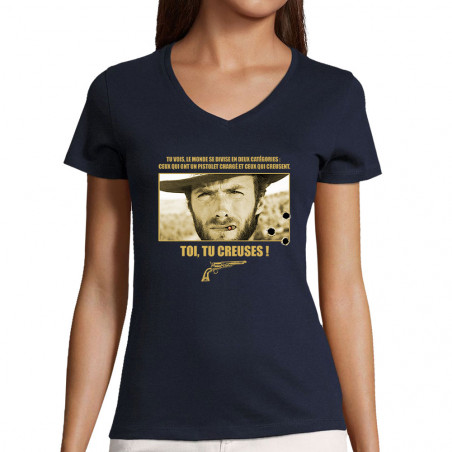 "T-shirt femme col V ""Toi tu..."