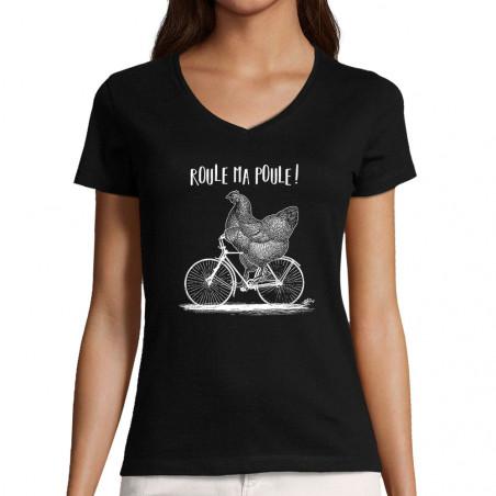 """T-shirt femme col V """"Roule..."""