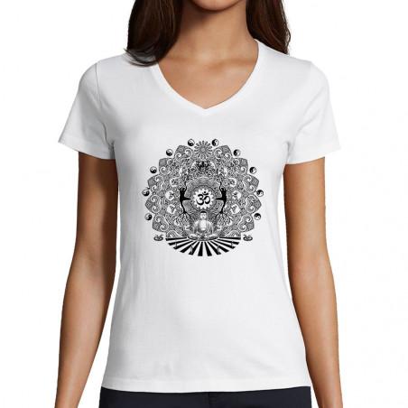 "T-shirt femme col V ""Buddha..."