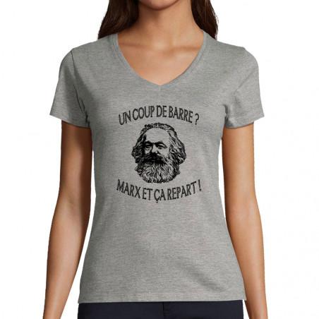 """T-shirt femme col V """"Marx..."""
