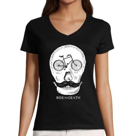 """T-shirt femme col V """"Ride..."""