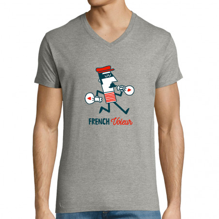 """T-shirt homme col V """"French..."""