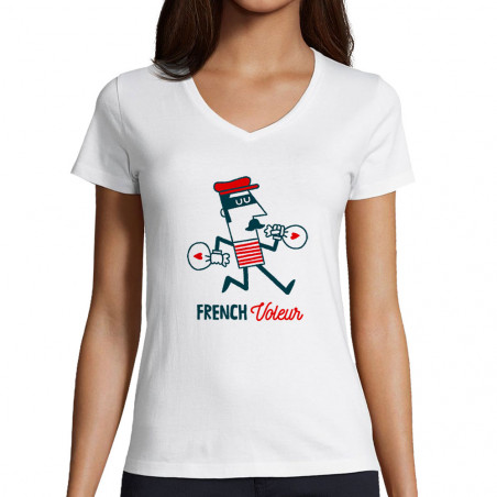 "T-shirt femme col V ""French..."