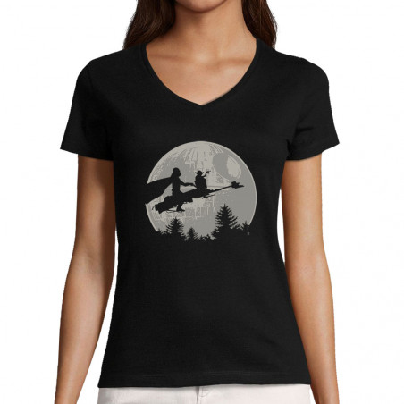 "T-shirt femme col V ""Yoda..."