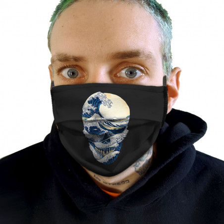 "Masque en tissu ""Hokusai..."