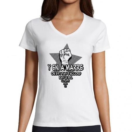 """T-shirt femme col V """"Y en a..."""