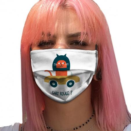 """Masque en tissu """"Chat roule ?"""""""